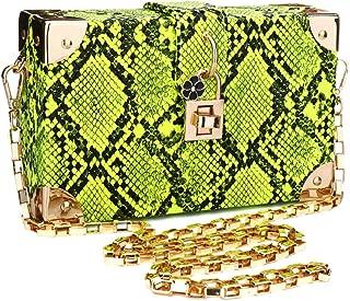 Manyysi Snakeskin Handbag Ladies Party Prom Evening Box Clutch Crossbody Shoulder Chain Bag