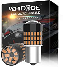 VehiCode 7507 LED Bulb Amber Yellow Light 3000K Bright Kit PY21W BAU15S Single Contact Bayonet Replacement with Projector ...