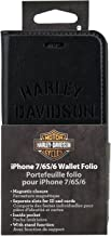 Harley Davidson Leather Wallet Folio for iPhone 8, iPhone 7, iPhone 6s, iPhone 6. (Will NOT FIT Plus Size iPhone)