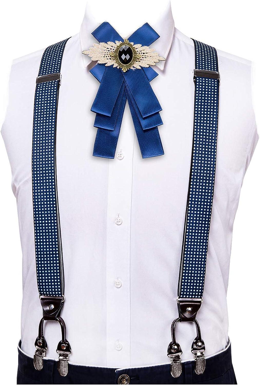 Barry.Wang Mens Suspender Adjustable Elastic Y Back Style Suspender and Bow Tie Sets Metal Clips for Wedding Bridegroom