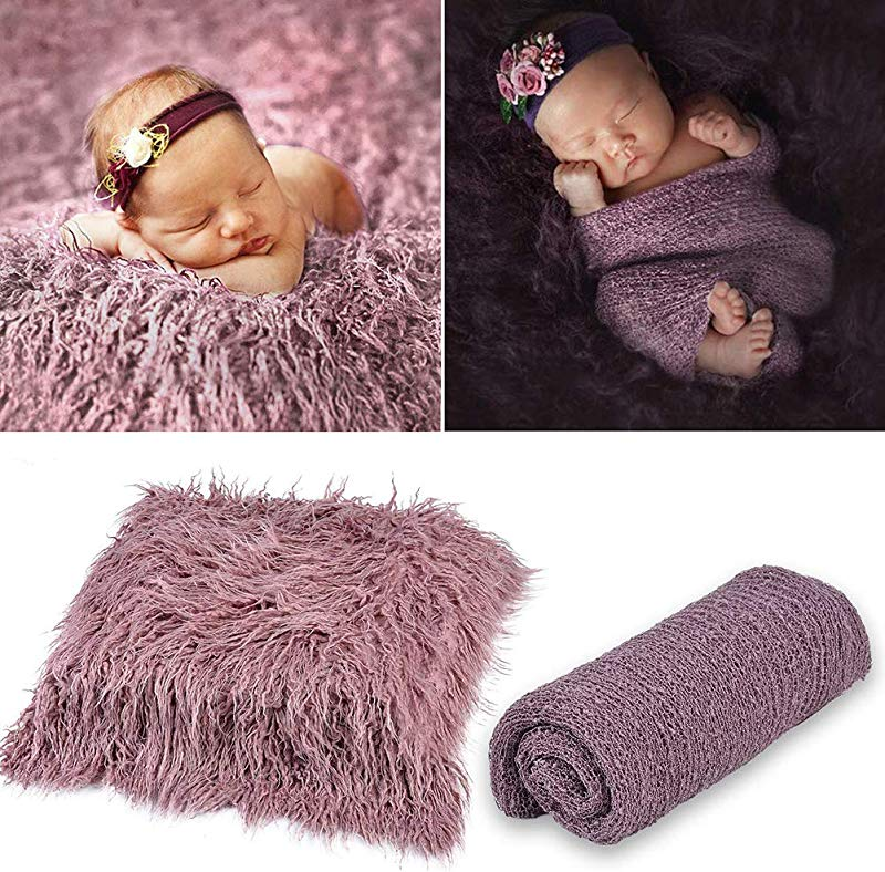 Hicollie 2Pcs Baby Photo Props Long Ripple Wraps DIY Blanket Outfits Newborn Wraps Photography Mat For Baby Boys And Girls