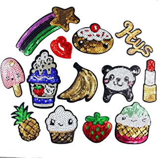 WZT 13 Pcs DIY Clothes Patch Stickers Cartoon Pattern Applique Glitter Sequin Iron On or Sew On Patches for T-shirt Jeans Skirt Vests Scarf Hat Bag Decor