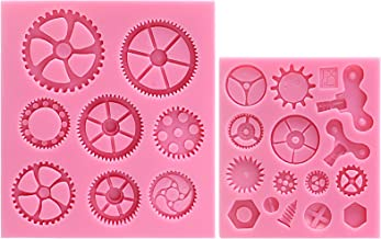 Funshowcase Steampunk Style Clock Watch Wheel Cogs Gears Candy Silicone Mold for Sugarcraft, Cake Decoration, Cupcake Topper, Fondant, Jewelry, Polymer Clay, Crafting Projects, 2 in Set