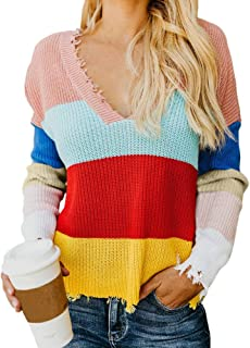 Franterd Multicolor Striple Sweater Casual Deep V Neck Rainbow Knitted Loose Pullover Autumn Tops