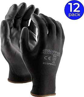 Stauffer Ultra-Thin Black Polyurethane (PU) Coated Safety Work Gloves | 13 Gauge Polyester Liner, Light and Flexible Grip - Medium (12 Pairs)