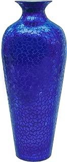 DecorShore Vedic Vase -Sparkling Metal Floor Vase with Floral Pattern Glass Mosaic Inlay, 20 in. Decorative Vase, Designer Vase (Cobalt Blue)