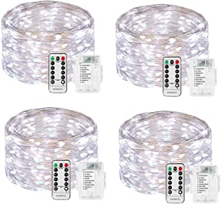 Fairy Lights Battery Powered, DOMEZAN LED String Lights 4 Set 16.4ft 50 LED 8 Models Decorative Lights with Remote Control for Indoor, Patio, Bedroom (Silver Wire Lights, Daylight White)