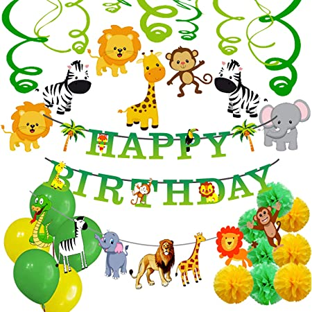 Party Propz Jungle Theme Birthday Party Decoration Boys-70Pcs Hawaiian Animals Safari Forest Balloons, Banners, Swirls, Pompom Hanging for Kids Girls Bday Parties Supplies Or Baby Shower Themed Decor