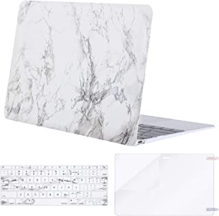 MOSISO Plastic Pattern Hard Shell Case & Keyboard Cover & Screen Protector Compatible with MacBook 12 inch with Retina Display (Model A1534, Release 2017 2016 2015), White Marble