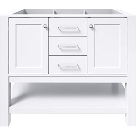 Amazon Com Ariel Bayhill 48 Inch Bathroom Vanity Base Only In White 2 Soft Closing Doors And 2 Dovetail Full Extensions Drawers Large Open Storage Space Brushed Nickel Hardware Kitchen Dining