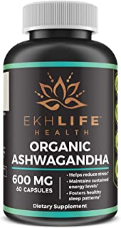 Ashwanganda (600mg) with BioPerine (Pepper Extract) by EkhLife Health | High Quality, max Absorption Anxiety Relief, Thyroid Support, Cortisol & Adrenal Support, Anti Anxiety, 60 Day Course (60 Caps)