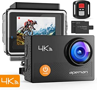 "APEMAN Action Camera 4K WiFi 20MP Waterproof Underwater Camera Ultra Full HD Sport Cam 30M Diving with 2"" LCD 170 Degree Wide-Angle, 2.4G Remote Control, 2 Rechargeable Batteries, 20 Accessories Kits"