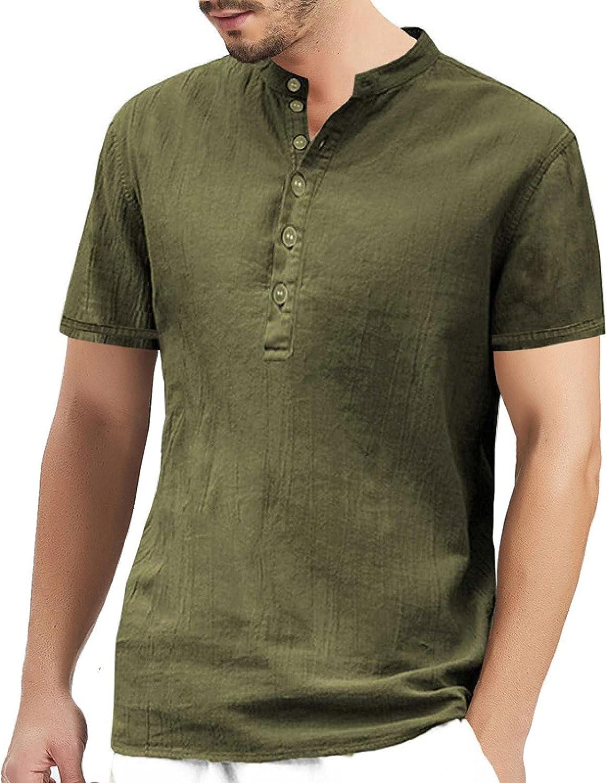 Henley Shirts for Men Linen Cotton Classic Solid Button Up Short Sleeve Tee Shirt Tops