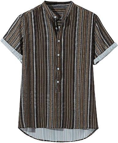 MEIbax Verano Camisa de Manga Corta con Estampado de Moda para Hombre Camisa de los Hombres de Solapa Suelto Ropa Casual de Hombre