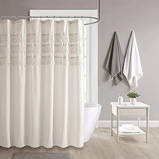 Madison Park Amaya 100% Cotton Shower Curtain, Seersucker Netted Tassel Trim Accent Soft Shabby Chic Bathroom Décor, Machi...