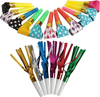 SBYURE 84 Pcs 2 Kinds Of Musical Blow Outs and Glitter Fringed Metalic Noisemaker, Party Noisemakers for Birthday Party Fa...