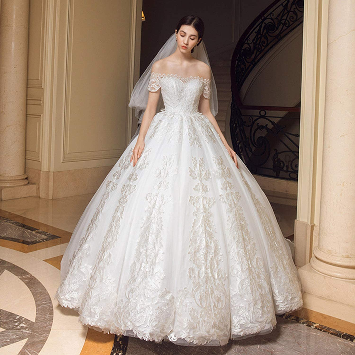 Women's Wedding Dresses Elegant Simple Oversized Backless Floor Length Bridal Dresses Ideal for Ceremony Evening Party Use,Ladies Girls Gift