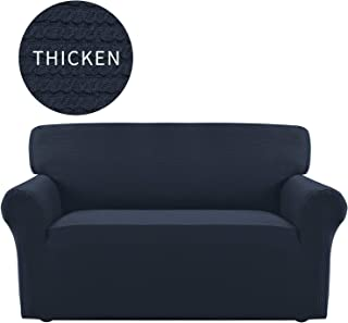 Easy-Going Thickened Stretch Slipcover, Sofa Cover, Furniture Protector with Elastic Bottom, Anti-Slip Foam, 1 Piece Couch Shield, Sturdy Fabric Slipcover Pets,Kids,Children,Dog,Cat (Loveseat,Navy)