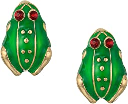 Kenneth Jay Lane Enamel Small Frog Clip Earrings
