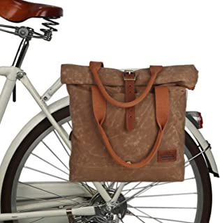 TOURBON Canvas and Leather Roll-top Clip-On Bicycle Panniers Women's Shoulder Tote Bag