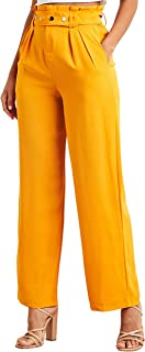 Solid Wide Leg Trouser with Popper Belt For Women Closet by Styli