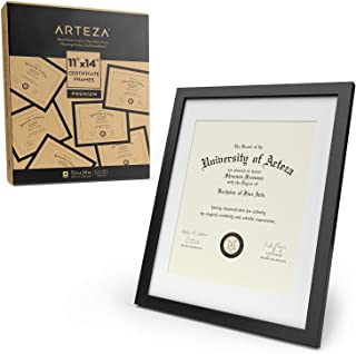 "ARTEZA Document Frame - Displays 11"" x 14"" Documents w/o Mat or 8.5"" x 11"" Certificates w/Mat - 4 Pack - Wood Finish Frame - Pure Glass Front - Picture Frame for Wall - Gallery Wall"