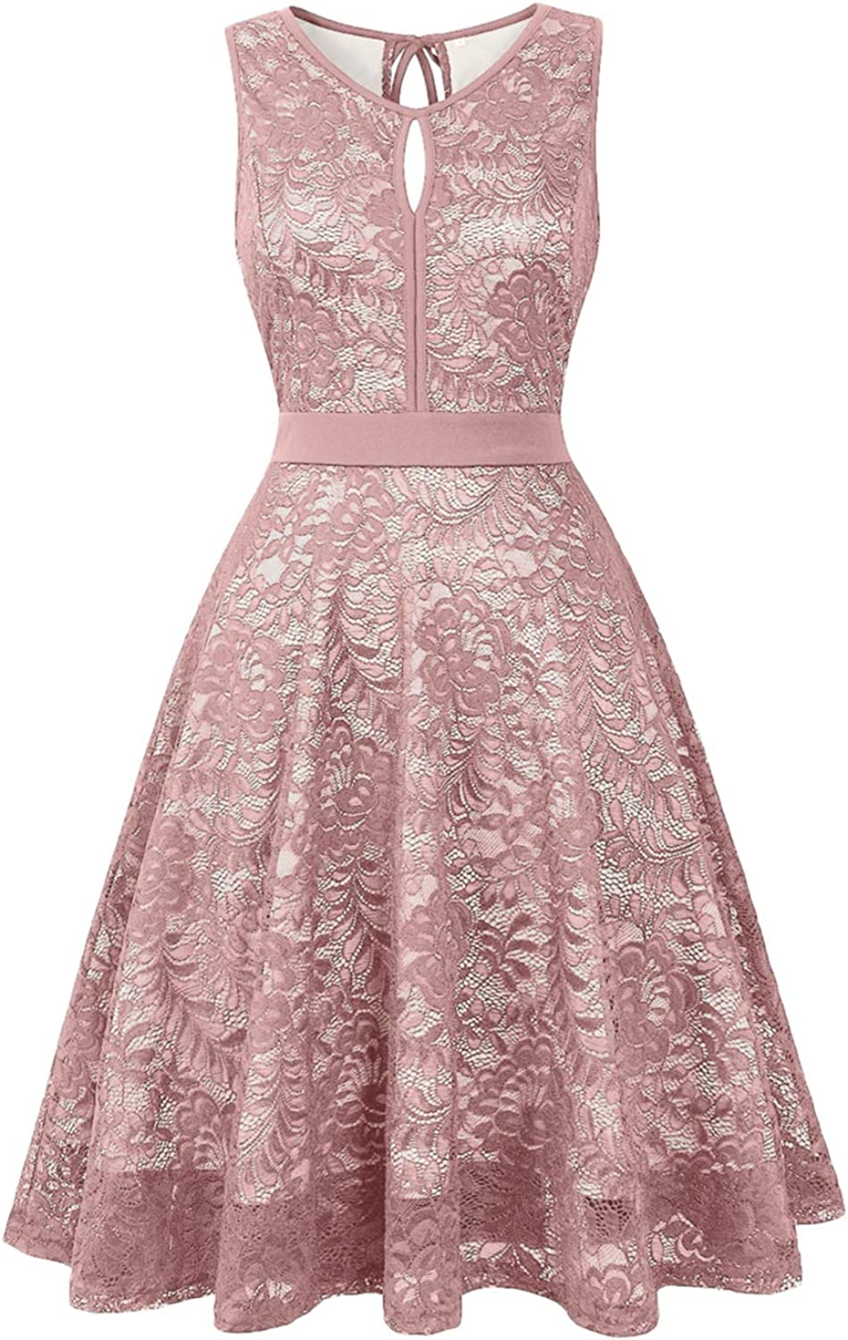 Women Vintage Floral Lace Bridesmaid Dress 3/4 Sleeve/Sleeveless Cocktail Party Swing Dresses