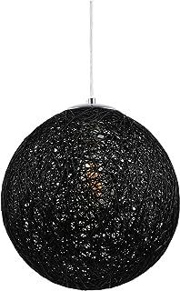 Huahan Haituo Nowoczesna czarna kratka wicker ratan globus kula styl lampa wisząca abażur do domu jadalni dekoracja lampy...