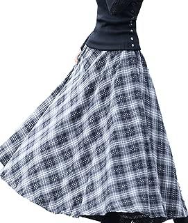 Women's Elastic Waist A Line Long Maxi Plaid Wool Skirt Vintage Wool Skirt
