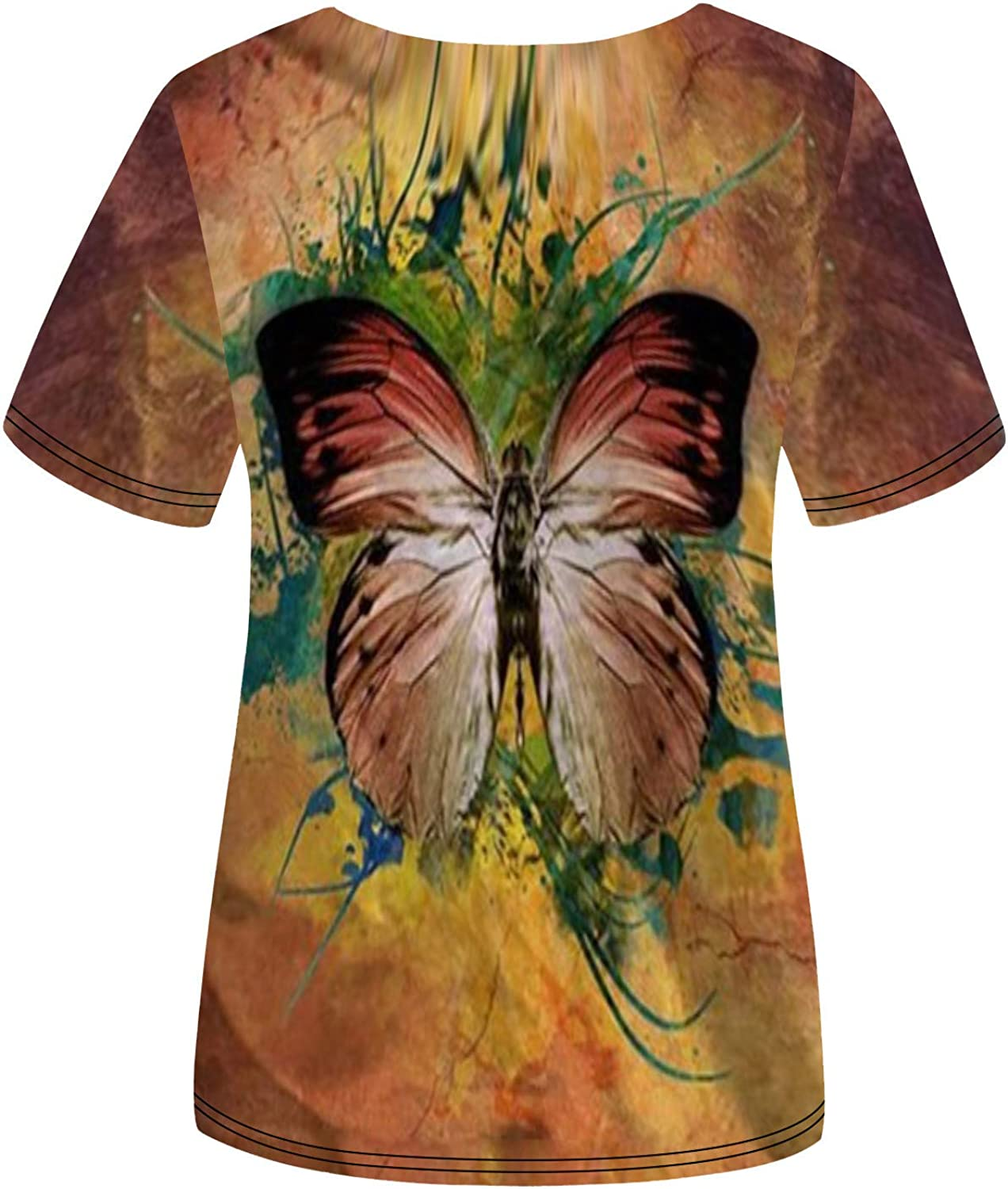 Women's Stylish Short Sleeve Blouses Beautiful Butterfly Print V Neck Tees Casual Loose Comfy Tshirts Summer Tops