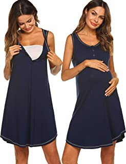 Maternity Gown Womens Sleeveless Nursing Nightwear Button Up Hospital Nightdress S-XXL