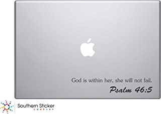 God Is Within Her, She Will Not Fail. Psalm 45:5 Bible Verse Vinyl Car Sticker Symbol Silhouette Keypad Track Pad Decal Laptop Skin Ipad Macbook Window Truck Motorcycle