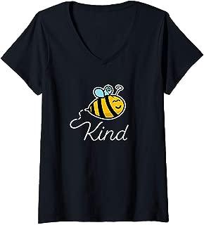Womens Bee Kind Cartoon Bee Funny Cute Honey Farmer Design V-Neck T-Shirt