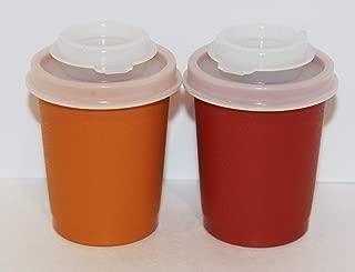 Vintage Tupperware Harvest Colors Orange & Red 2 1/2 Inch Plastic Salt & Pepper Shaker Set