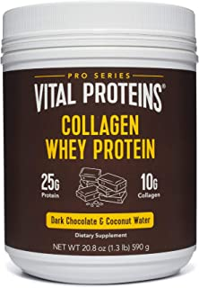 Collagen Whey Protein Powder - 25g of protein per serving (Dark Chocolate), 20.2 oz Canister - Vital Proteins Whey