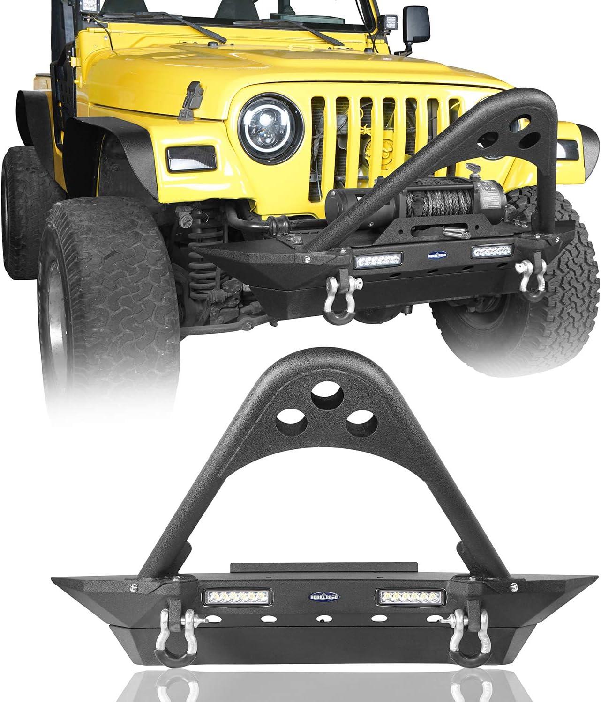 Hooke Road Stinger Front Bumper w Lighti 販売期間 限定のお得なタイムセール Plate LED 2x18W Winch 卓出