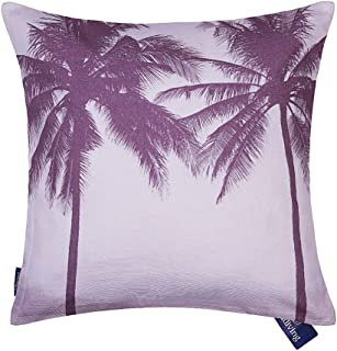 Aitliving Accent Pillow Cover Cotton Canvas Ocean Tropical Palm Tree Seaside Sunset Cushion Cover Pink Violet Vintage Retro Photo Digital Printing 18