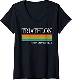 Womens Retro Vintage Triathlon & Triathlete Clothing - Triathlon V-Neck T-Shirt