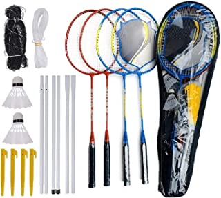 Blesseza Badminton Set-Badminton Racket of 4 Players with Portable Badminton Net and Badminton Birdie & Storage Travel Bag - Perfect for Backyard Lawn Outdoor Game for Adults and Kids