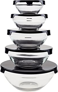 Chef Buddy Glass Food Storage Containers with Snap Lids- 10 Piece Set with Multiple Bowl Sizes for Storage, Meal Prep, Mix...