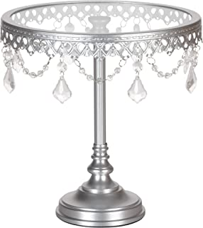 Amalfi Decor 10 Inch Metal Cake Dessert Stand with Glass Surface Plates, Crystal Beads and Dangles, Silver