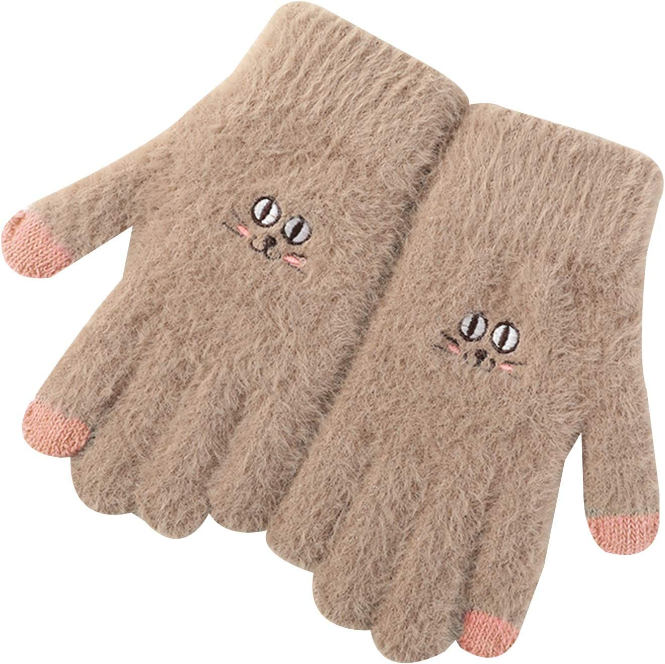 Gloves Touch Screen Gloves for Ladies, Cartoon Embroidered Plush Knitted Gloves for Cycling in Autumn and Winter (Color : Brown)