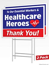 Printed 2-Sided Health Care Yard Sign v2 Moonlight4225 Thank You Stay Safe Wire H Stake Included First Responders Essential Workers 1, 24 x 18 24 x 18 or 36 x 24