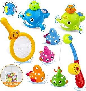 Tintec Juguetes de Baño Bebe, Kit Juguetes de Pescar Juegos Piscina Juguetes de Bañera de Cuerda para Bebé con Bolsa de Almacenamiento