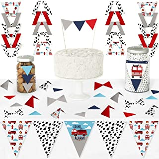Big Dot of Happiness Fired Up Fire Truck - Diy Pennant Banner Decorations - Firefighter Firetruck Baby Shower or Birthday Party Triangle Kit - 99 Pieces