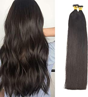 Sunny I Tip Hair Extensions Prfessional Salon Quality #2 Darkest Brown I Tip Remy Human Hair Extensions,22inch,1G/S 50G Per Pack