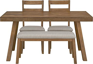 Ready To Live Caswell Dining Set with Bench, Height, Light Brown