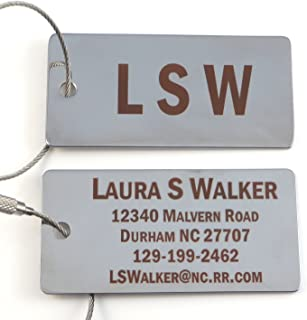Custom Silver or Gold Luggage Tag w/Stainless Steel Cable Loop - Free Dark Laser Engraving Personalization (Silver)
