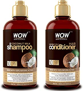 WOW Coconut Milk Shampoo and Conditioner Set, Slow Down Hair Loss, Essential Vitamins and Oils For Faster Hair Growth For ...