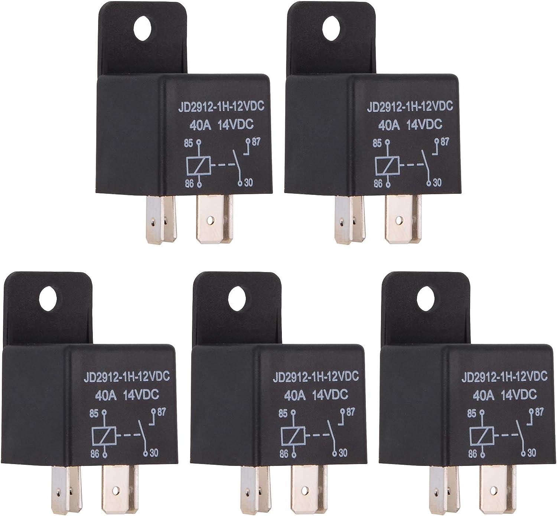 Ehdis 5 Piezas Coches Relé 4 Pin 12v 40 Spst Modelo No .: JD2912-1H-40A 12VDC 14VDC de los detectores magnéticos y Entrantes, Paquete de 5